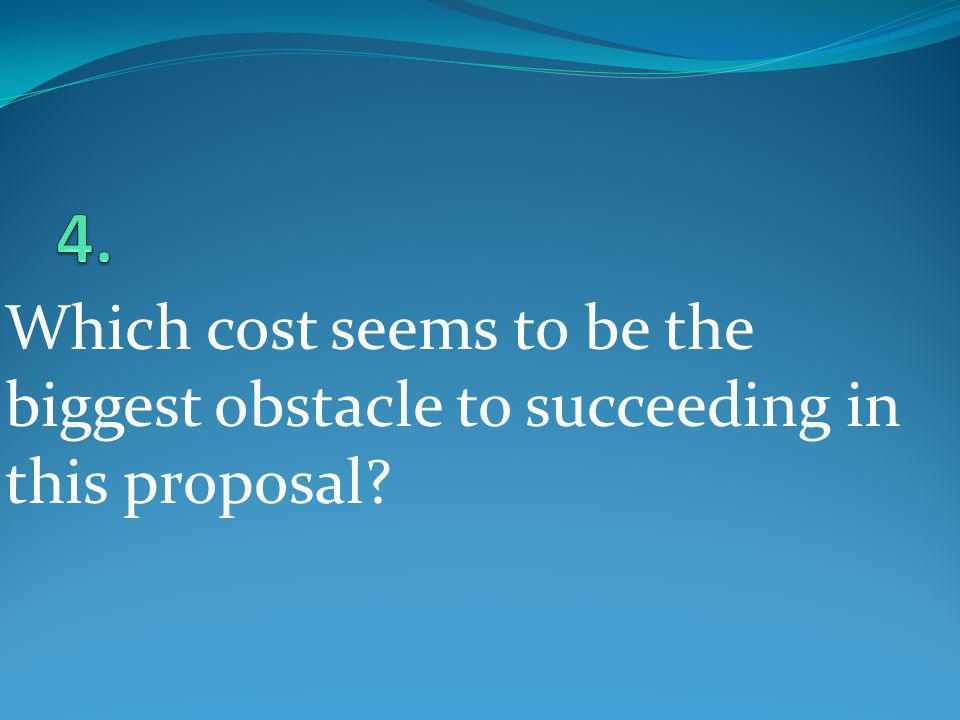 Which cost seems to be the biggest obstacle to succeeding in this proposal?