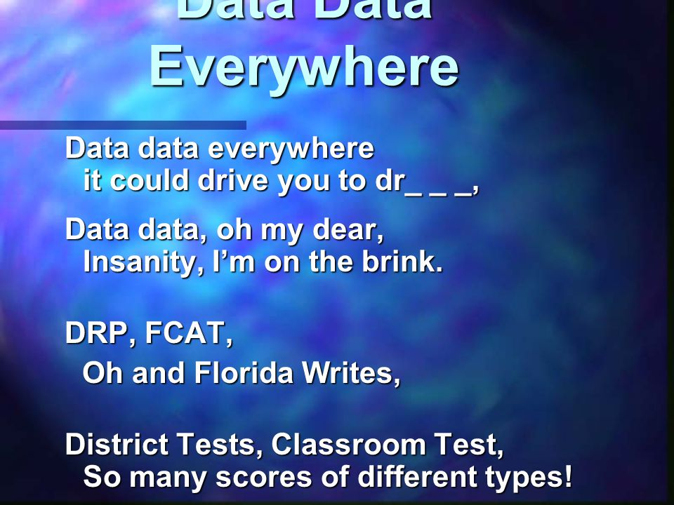 Data Data Everywhere How do I… How do I… Analyze, Analyze, Conceptualize, and Conceptualize, and Organize… Organize… a plan from all of this.