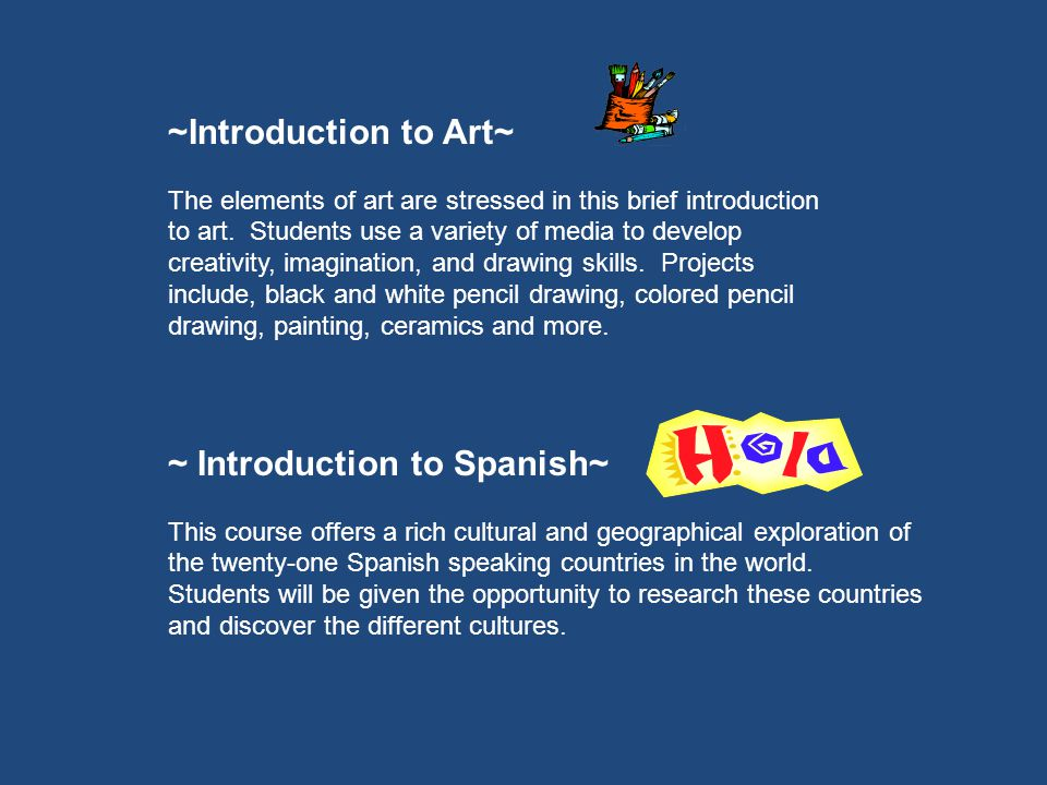 ~Introduction to Art~ The elements of art are stressed in this brief introduction to art.