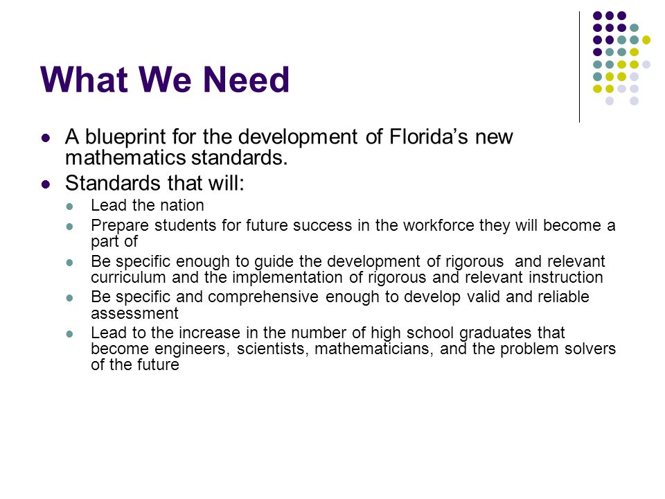 What We Need A blueprint for the development of Florida's new mathematics standards.