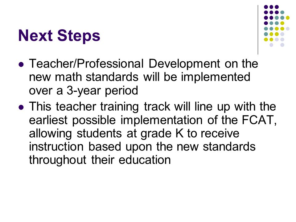 Next Steps Teacher/Professional Development on the new math standards will be implemented over a 3-year period This teacher training track will line up with the earliest possible implementation of the FCAT, allowing students at grade K to receive instruction based upon the new standards throughout their education