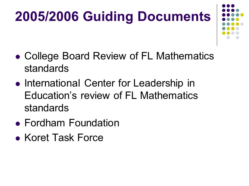 Discussions About A NAEP Grade 12 This test would include more Algebra II, Trigonometry, and a greater emphasis on mathematical reasoning What impact would/should this have on the revision of Florida's mathematics standards?