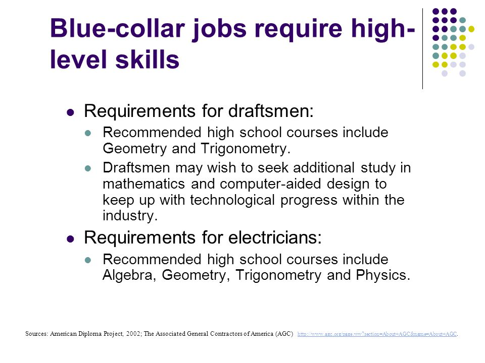 Blue-collar jobs require high- level skills Requirements for draftsmen: Recommended high school courses include Geometry and Trigonometry.