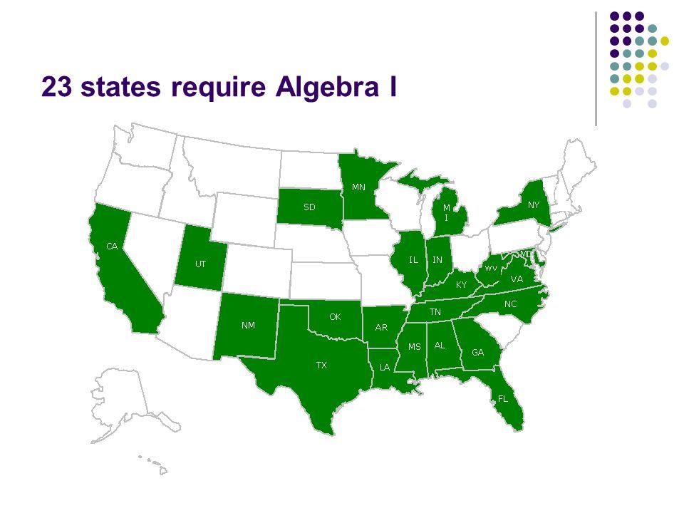 23 states require Algebra I