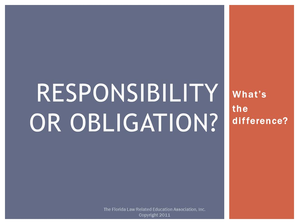 What's the difference. RESPONSIBILITY OR OBLIGATION.