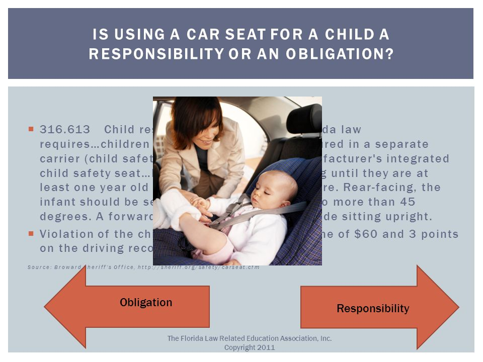 Obligation!  316.613 Child restraint requirements.— Florida law requires…children through age 3 must be secured in a separate carrier (child safety s