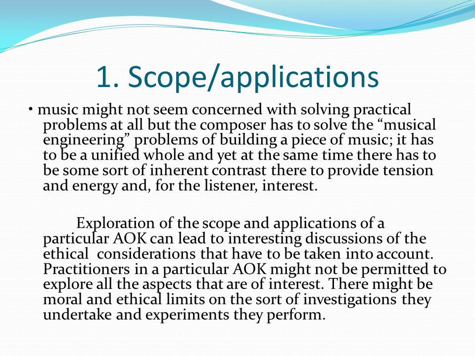 "1. Scope/applications music might not seem concerned with solving practical problems at all but the composer has to solve the ""musical engineering"" pr"