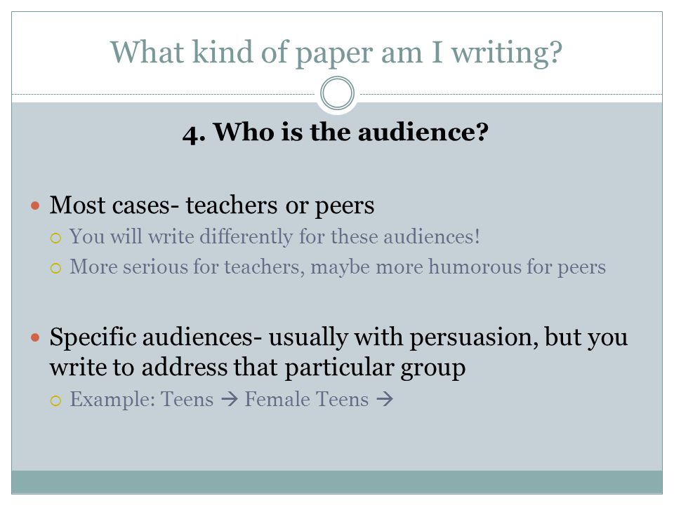 What kind of paper am I writing.4. Who is the audience.