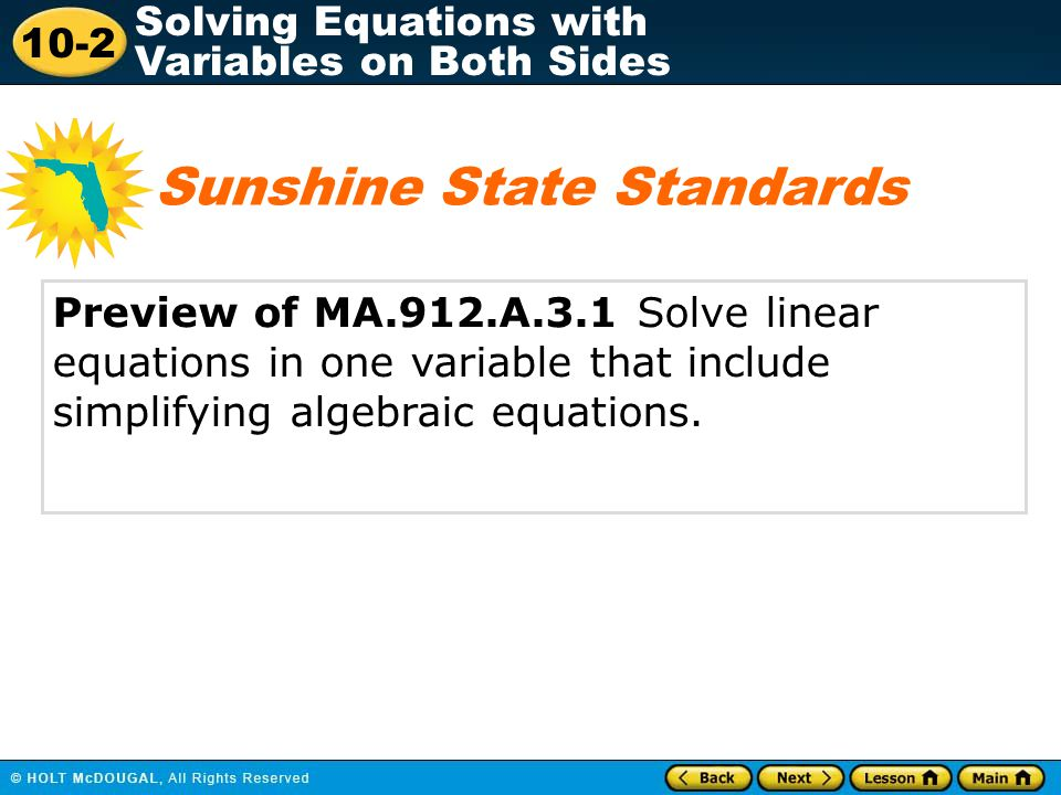 10-2 Solving Equations with Variables on Both Sides Check It Out: Example 3 A local telephone company charges $40 per month for services plus a fee of $0.10 a minute for long distance calls.