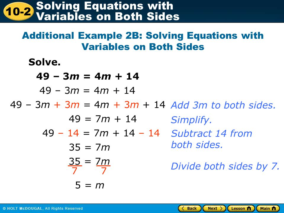 10-2 Solving Equations with Variables on Both Sides Lesson Quiz Part II 5.
