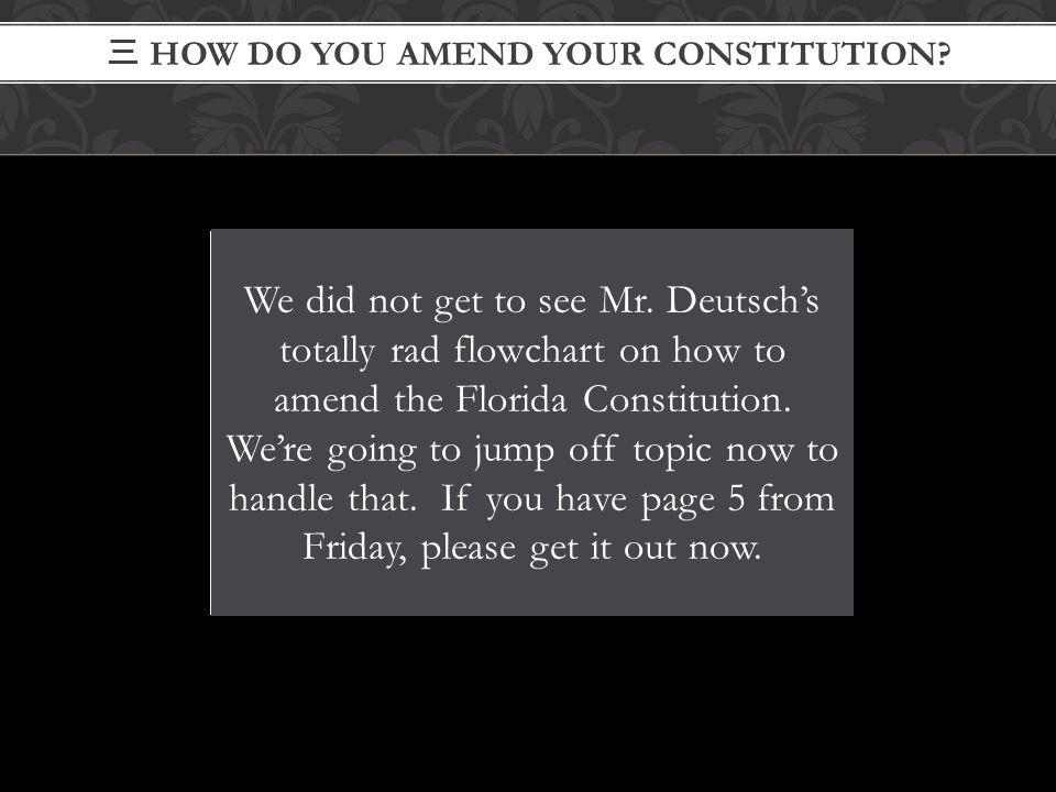 三 HOW DO YOU AMEND YOUR CONSTITUTION? We did not get to see Mr. Deutsch's totally rad flowchart on how to amend the Florida Constitution. We're going