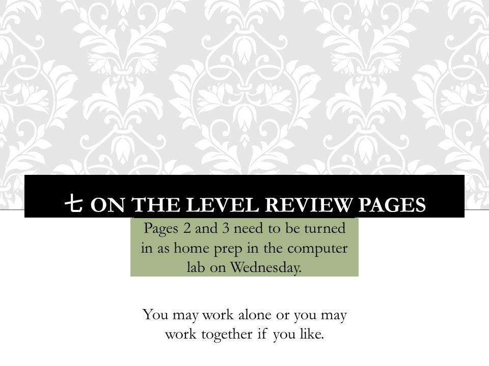 七 ON THE LEVEL REVIEW PAGES Pages 2 and 3 need to be turned in as home prep in the computer lab on Wednesday. You may work alone or you may work toget