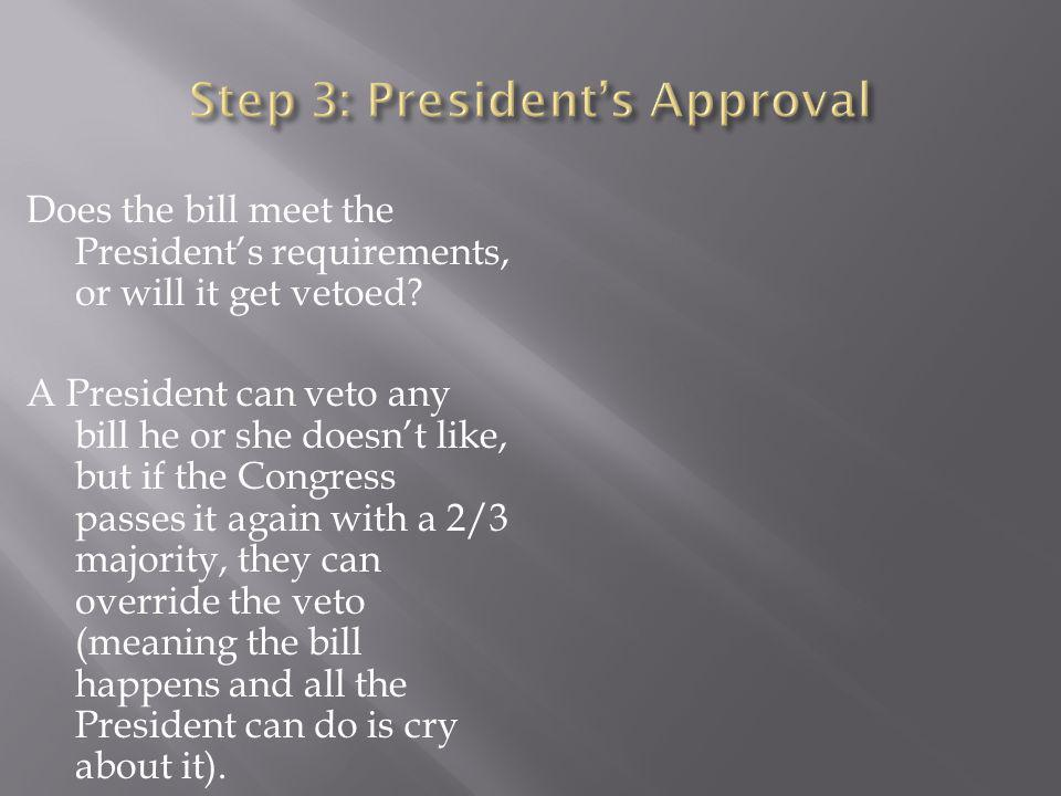 Does the bill meet the President's requirements, or will it get vetoed.