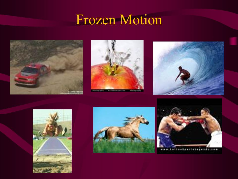 Frozen Motion Faster shutter speeds Remember – shutter speed is in fractions of seconds. 2000 or 1/2000 is the fastest shutter speed and will freeze a