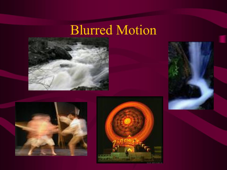Blurred Motion Slower shutter speeds will blur, or record motion. Shutter speed will have to be 30, or 1/30 of a second and below to record motion. Re