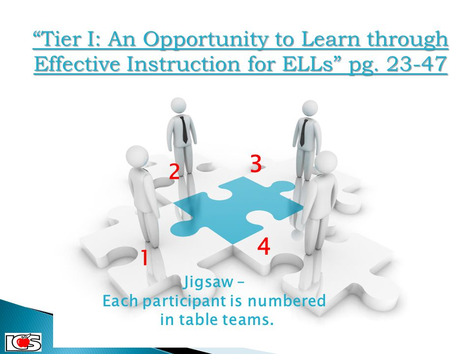 "1 2 3 4 ""Tier I: An Opportunity to Learn through Effective Instruction for ELLs"" pg. 23-47 Jigsaw – Each participant is numbered in table teams. C 2 C"