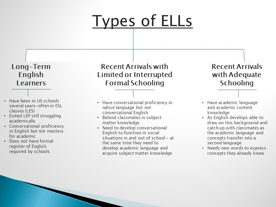 Types of ELLs Long-Term English Learners Recent Arrivals with Limited or Interrupted Formal Schooling Recent Arrivals with Adequate Schooling Have bee