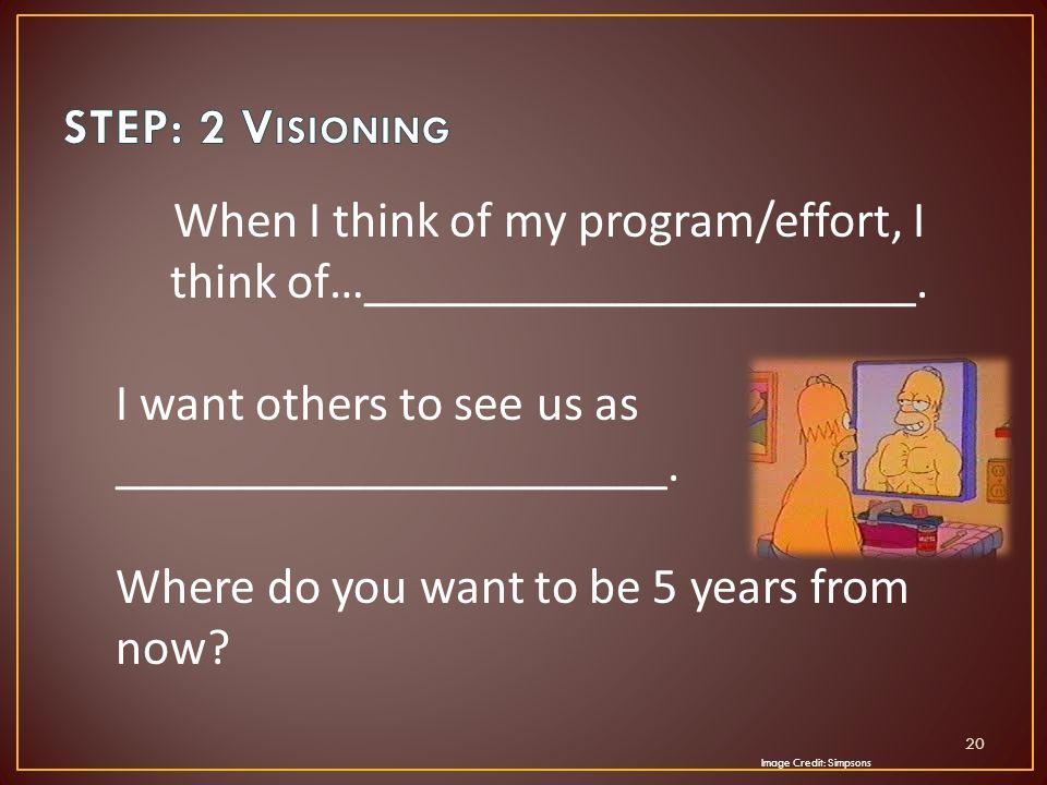 When I think of my program/effort, I think of…______________________.