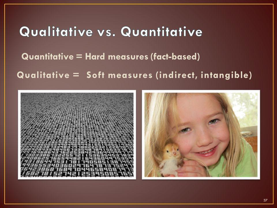Quantitative = Hard measures (fact-based) Qualitative = Soft measures (indirect, intangible) 37