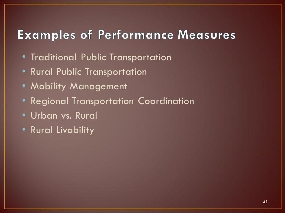 Traditional Public Transportation Rural Public Transportation Mobility Management Regional Transportation Coordination Urban vs.