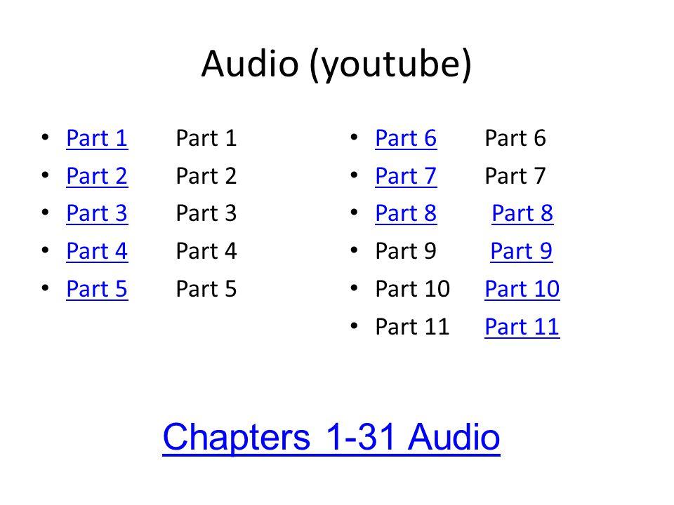 Audio (youtube) Part 1Part 1 Part 1 Part 2Part 2 Part 2 Part 3Part 3 Part 3 Part 4Part 4 Part 4 Part 5Part 5 Part 5 Part 6Part 6 Part 6 Part 7Part 7 Part 7 Part 8 Part 8 Part 8 Part 9 Part 9Part 9 Part 10Part 10Part 10 Part 11Part 11Part 11 Chapters 1-31 Audio