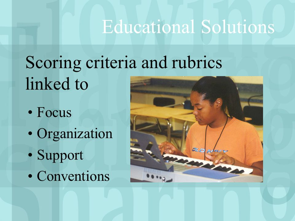 Educational Solutions Focus Organization Support Conventions Scoring criteria and rubrics linked to