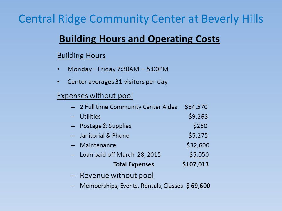 Central Ridge Community Center at Beverly Hills Pool Hours and Operating Costs Pool Hours (May -September) Monday – Saturday 10:00AM – 7:00PM Sunday – 1:00PM – 5:00PM The pool averages 39 swimmers per day, which includes the YMCA and Boys and Girls Club Starting costs to repair and renovate pool, restrooms, roof and pool deck area will be $116,090 – (See chart on next page) Maximum visitors in the pool area at one time is 48 - Pool Only Expenses – Pool Staff $14,348 – Utilities $6,732 – Janitorial & Phone $925 – Chemicals & Permits $3,250 Total Expenses $25,255 – Pool Only Revenue $4,600
