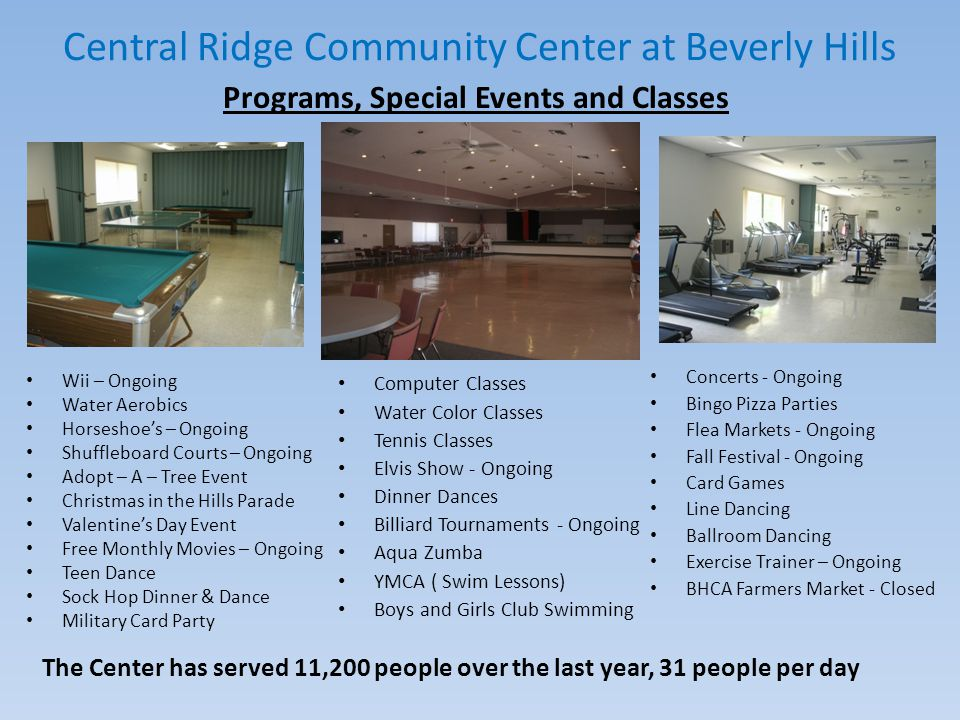 Central Ridge Community Center at Beverly Hills What has been done since July 9, 2013.