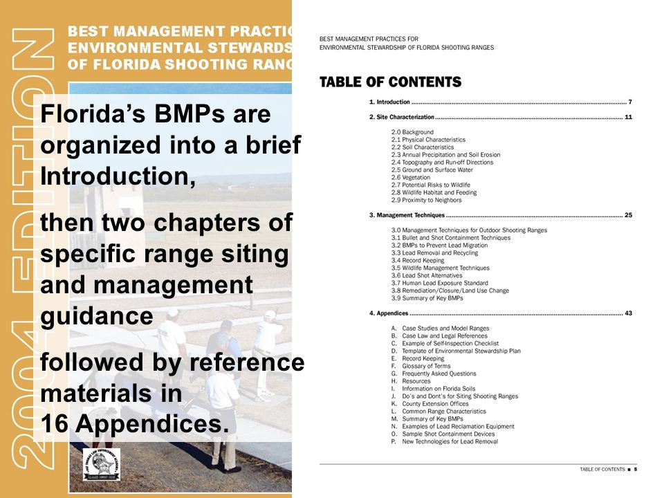 Florida's BMPs are organized into a brief Introduction, then two chapters of specific range siting and management guidance followed by reference mater