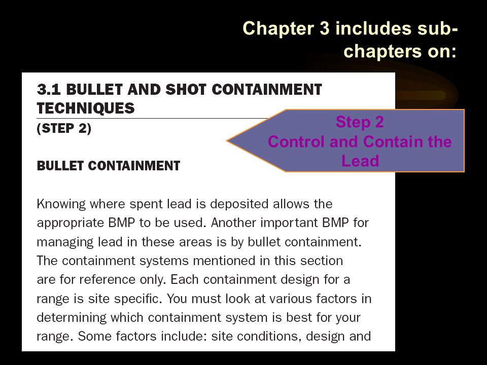 Chapter 3 includes sub- chapters on: Step 2 Control and Contain the Lead
