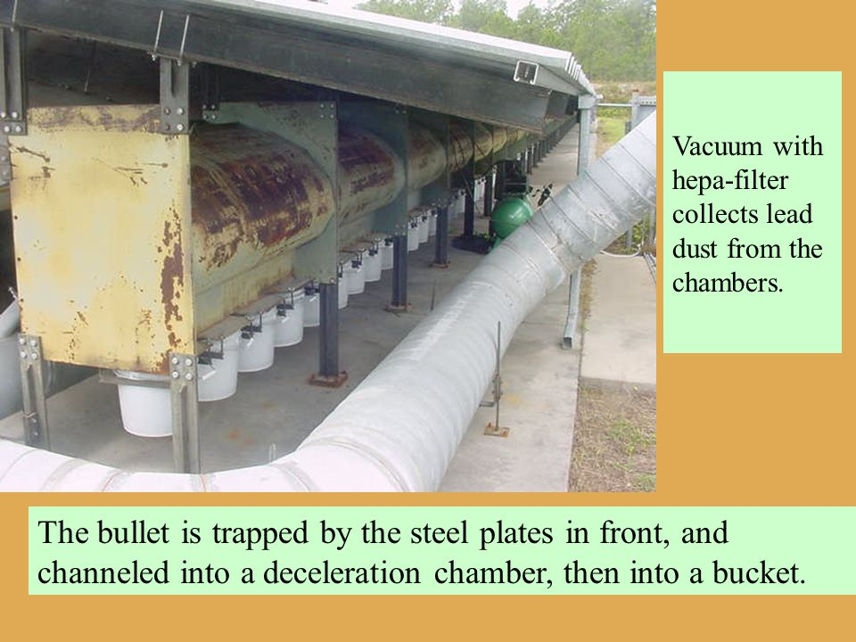 The bullet is trapped by the steel plates in front, and channeled into a deceleration chamber, then into a bucket. Vacuum with hepa-filter collects le