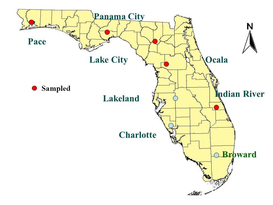 Indian River Lake City Pace Charlotte Lakeland Ocala Panama City Broward Sampled