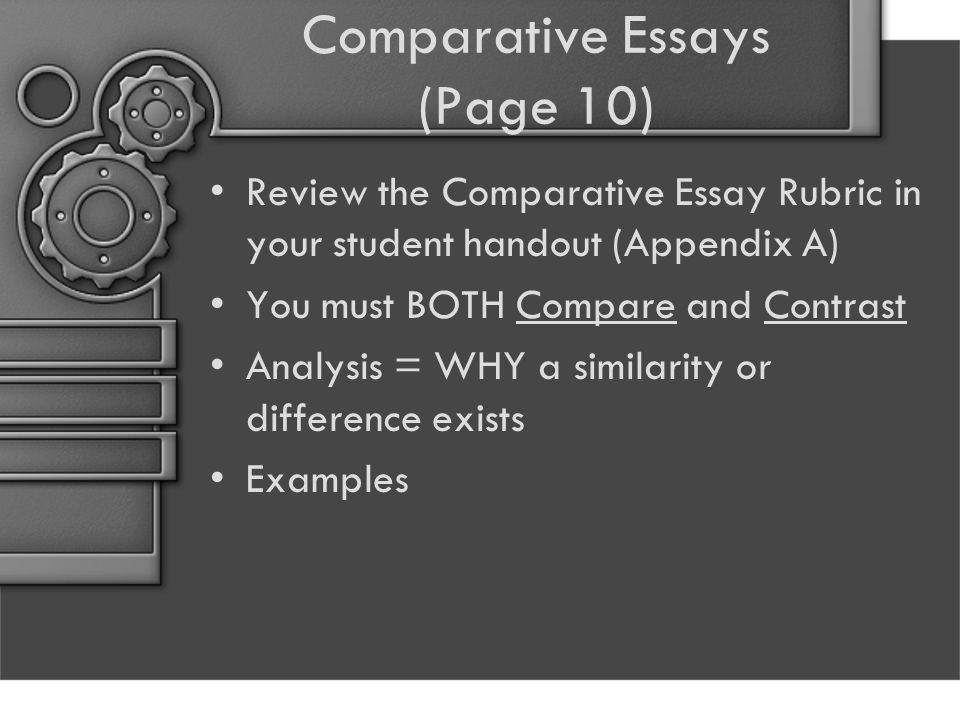 Comparative Essays (Page 10) Review the Comparative Essay Rubric in your student handout (Appendix A) You must BOTH Compare and Contrast Analysis = WHY a similarity or difference exists Examples