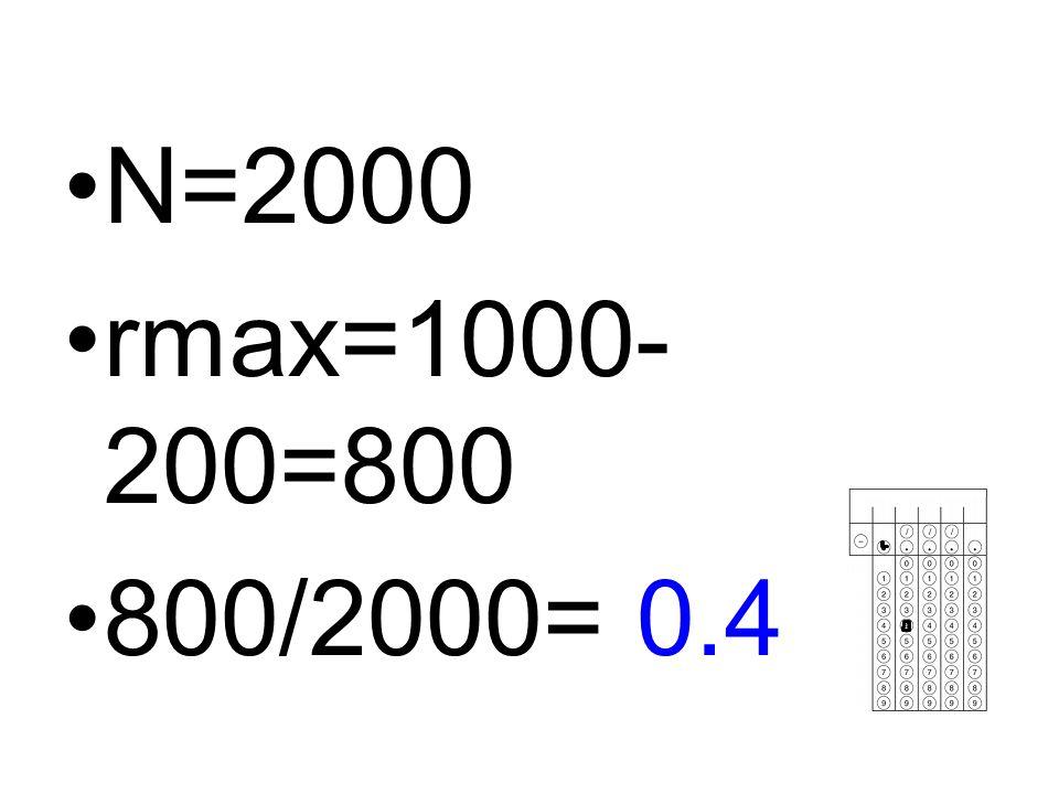 N=2000 rmax=1000- 200=800 800/2000= 0.4