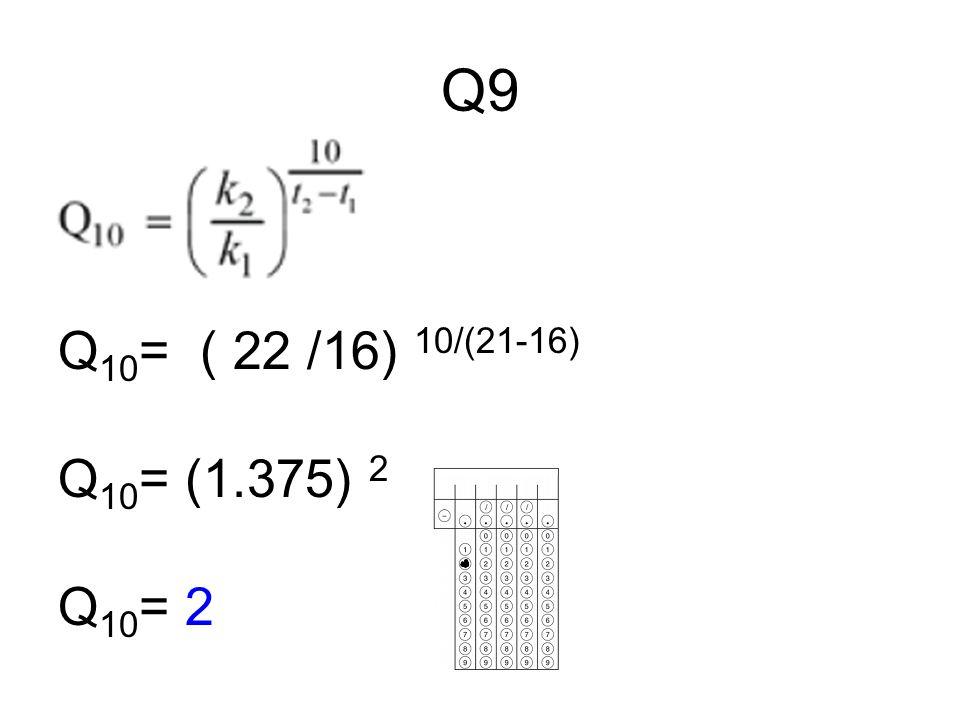 Q9 Q 10 = ( 22 /16) 10/(21-16) Q 10 = (1.375) 2 Q 10 = 2