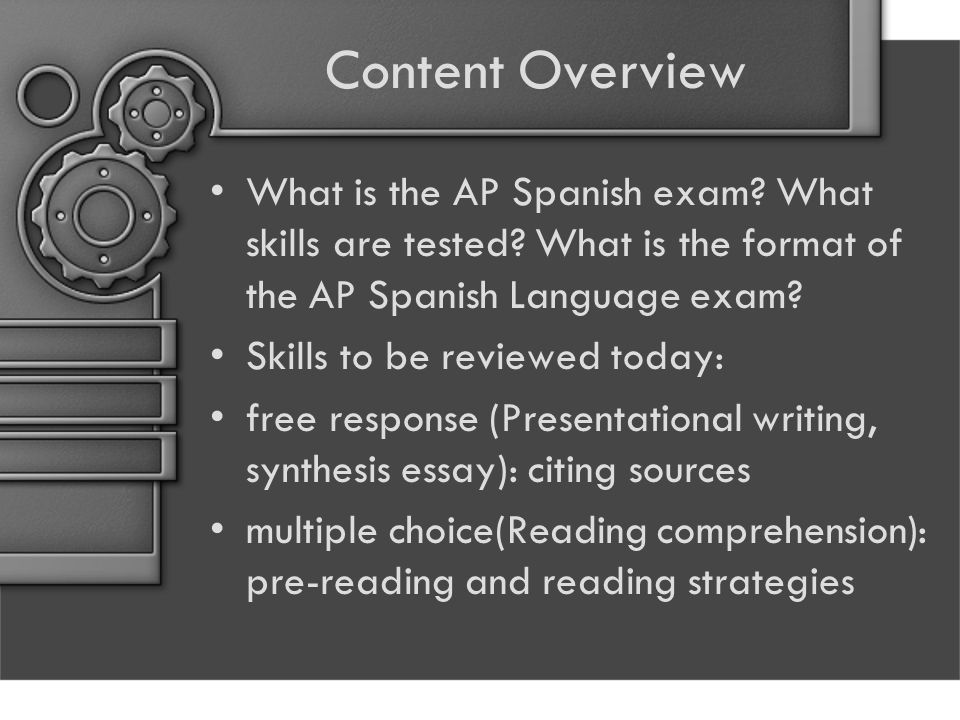 Content Overview What is the AP Spanish exam. What skills are tested.