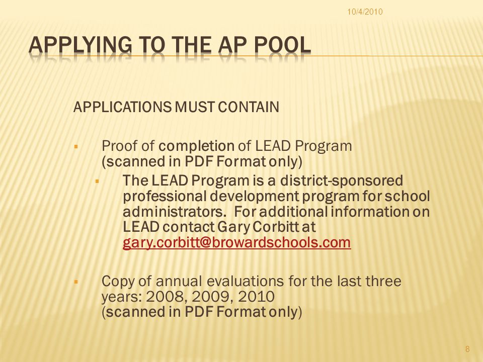 Acceptance to the AP Pool is a two-phase process.