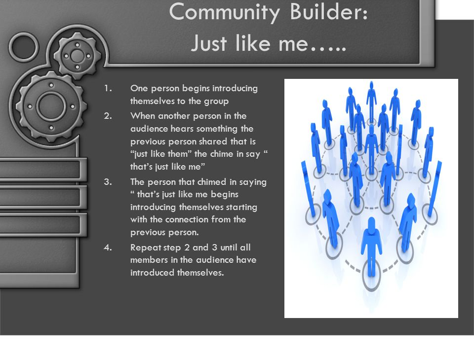 Community Builder: Just like me…..