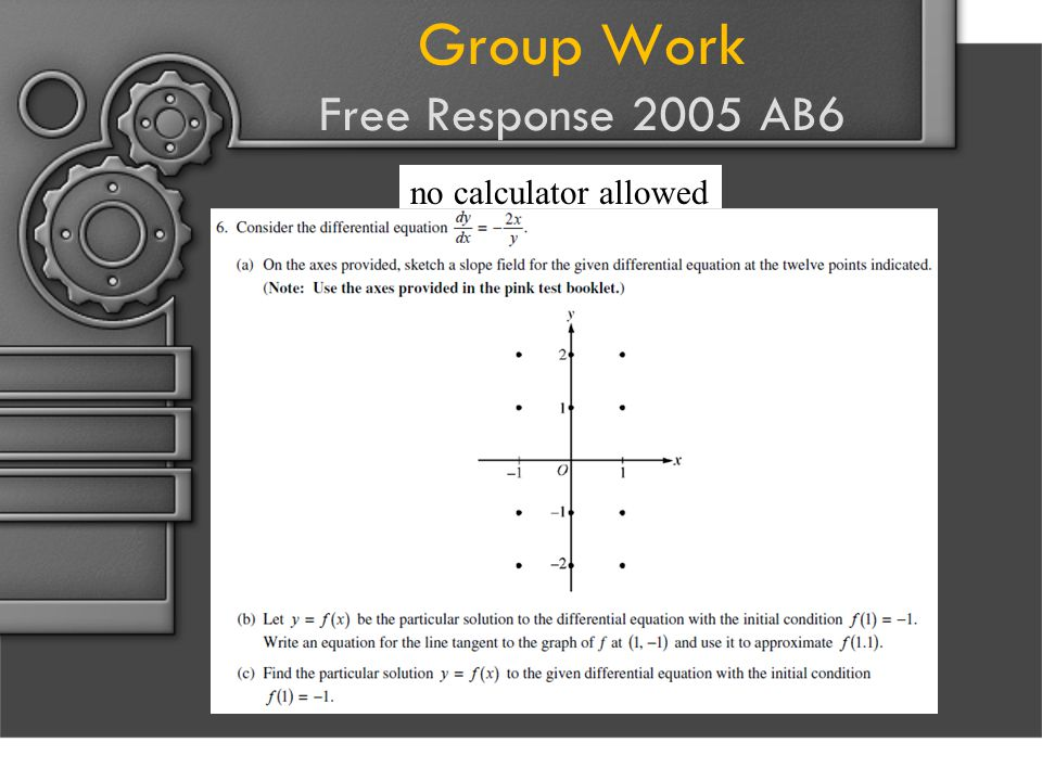 Group Work Free Response 2005 AB6 no calculator allowed