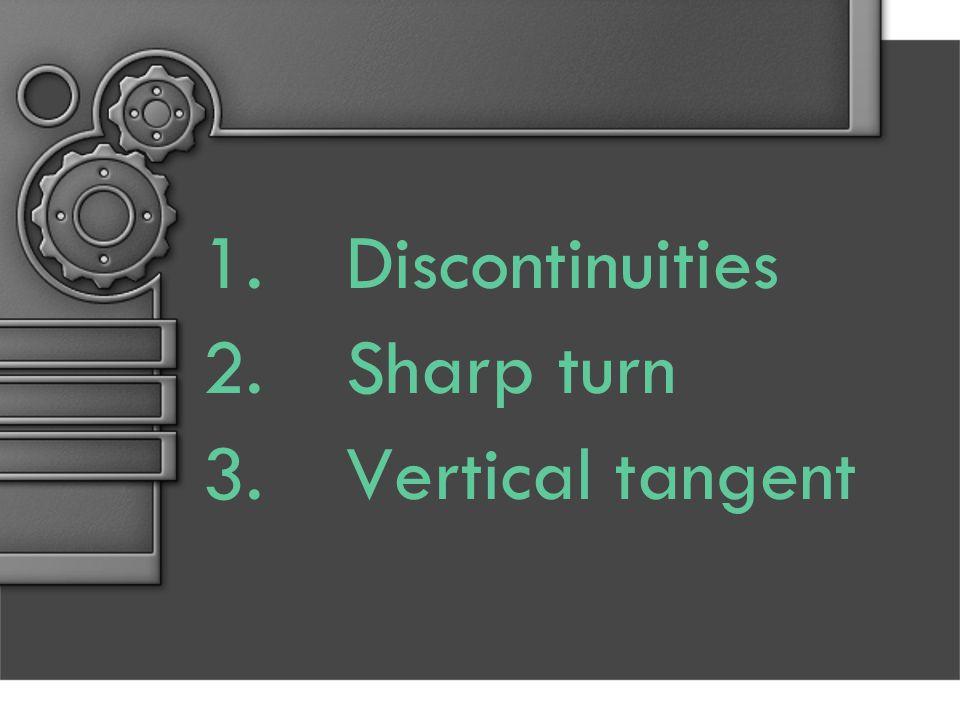 1.Discontinuities 2.Sharp turn 3.Vertical tangent