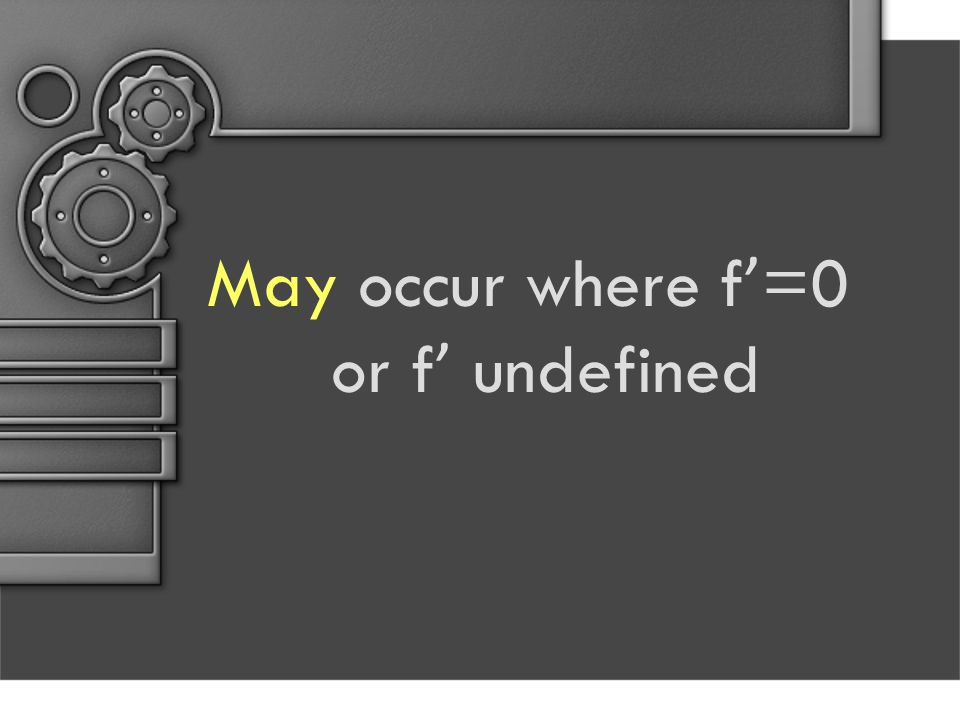 May occur where f ' =0 or f ' undefined