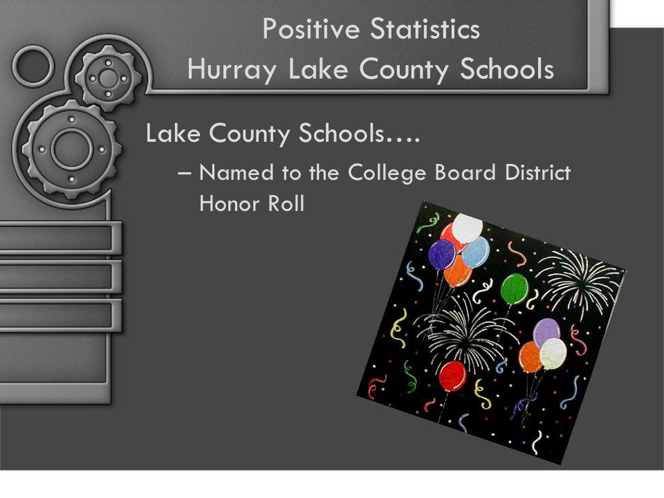 Positive Statistics Hurray Lake County Schools Lake County Schools…. –Named to the College Board District Honor Roll