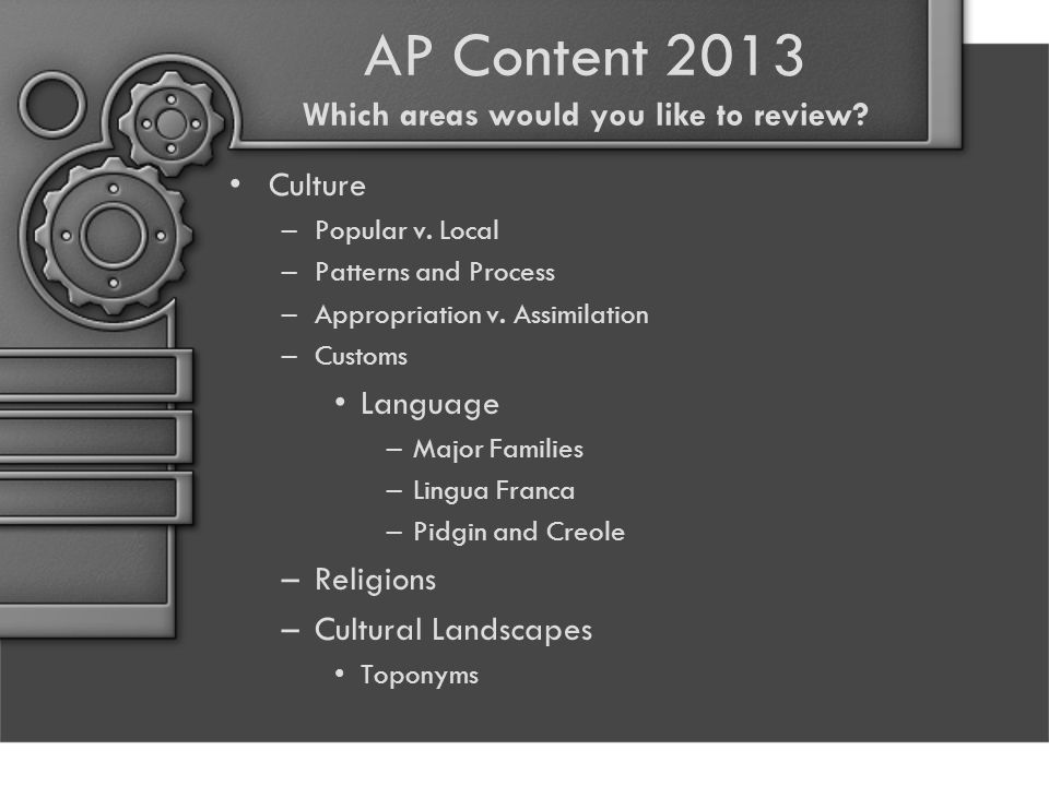 AP Content 2013 Which areas would you like to review.