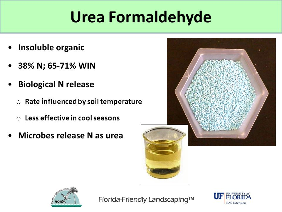 Urea Formaldehyde Insoluble organic 38% N; 65-71% WIN Biological N release o Rate influenced by soil temperature o Less effective in cool seasons Micr