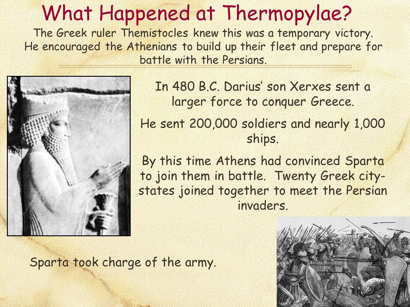 What Happened at Thermopylae? The Greek ruler Themistocles knew this was a temporary victory. He encouraged the Athenians to build up their fleet and
