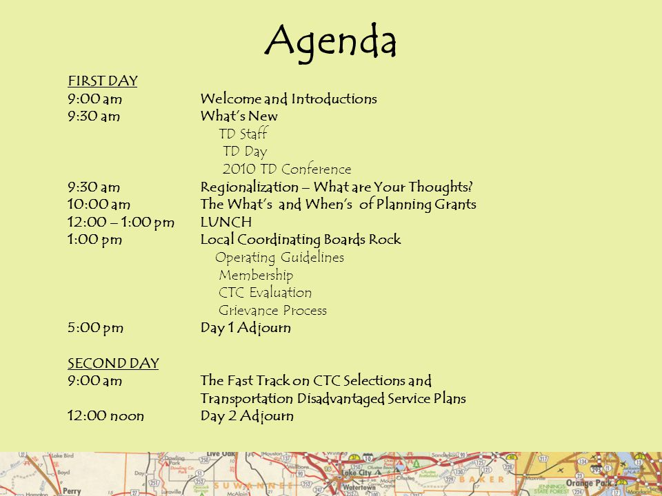 Agenda FIRST DAY 9:00 am Welcome and Introductions 9:30 amWhat's New TD Staff TD Day 2010 TD Conference 9:30 am Regionalization – What are Your Though