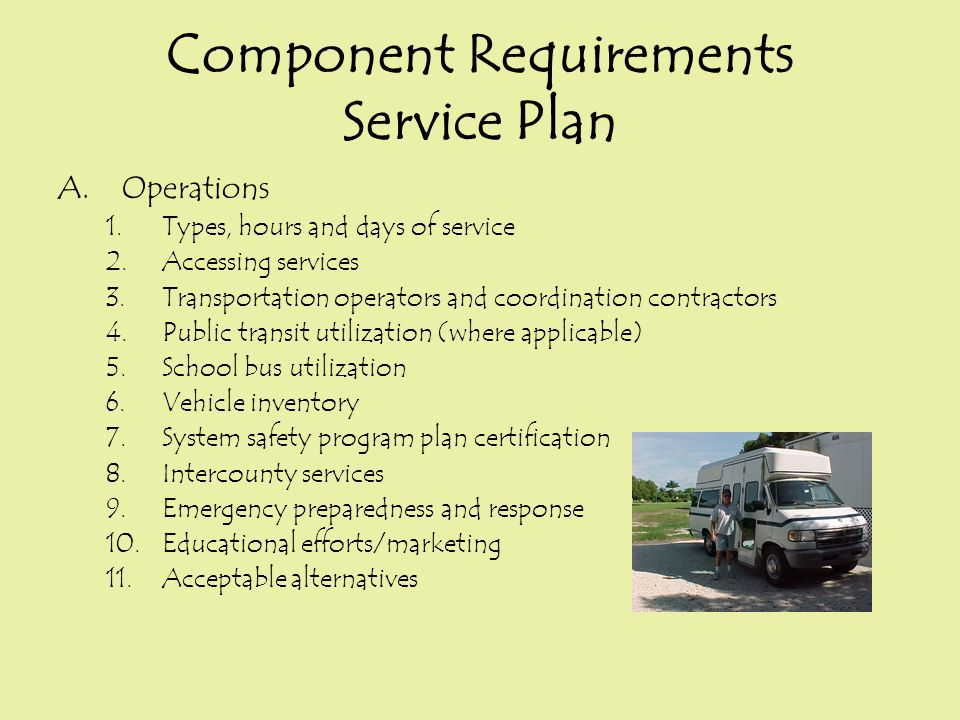 Component Requirements Service Plan A.Operations 1.Types, hours and days of service 2.Accessing services 3.Transportation operators and coordination c