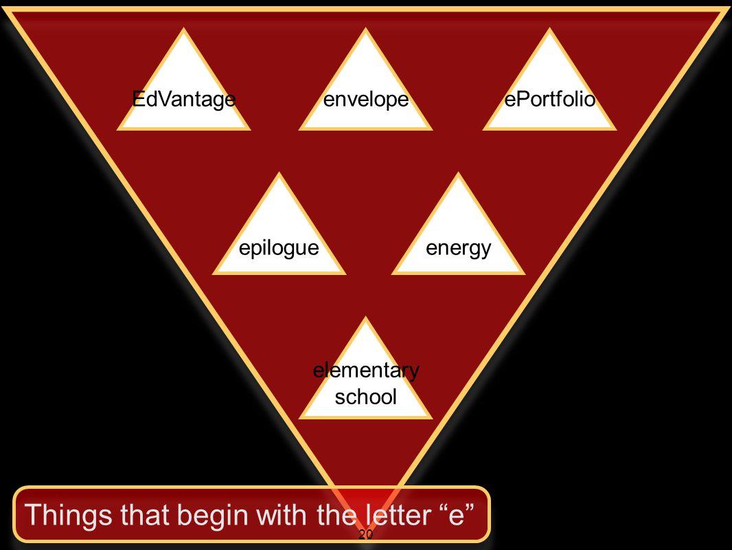 "EdVantageenvelopeePortfolio epilogueenergy elementary school Things that begin with the letter ""e"" 20"