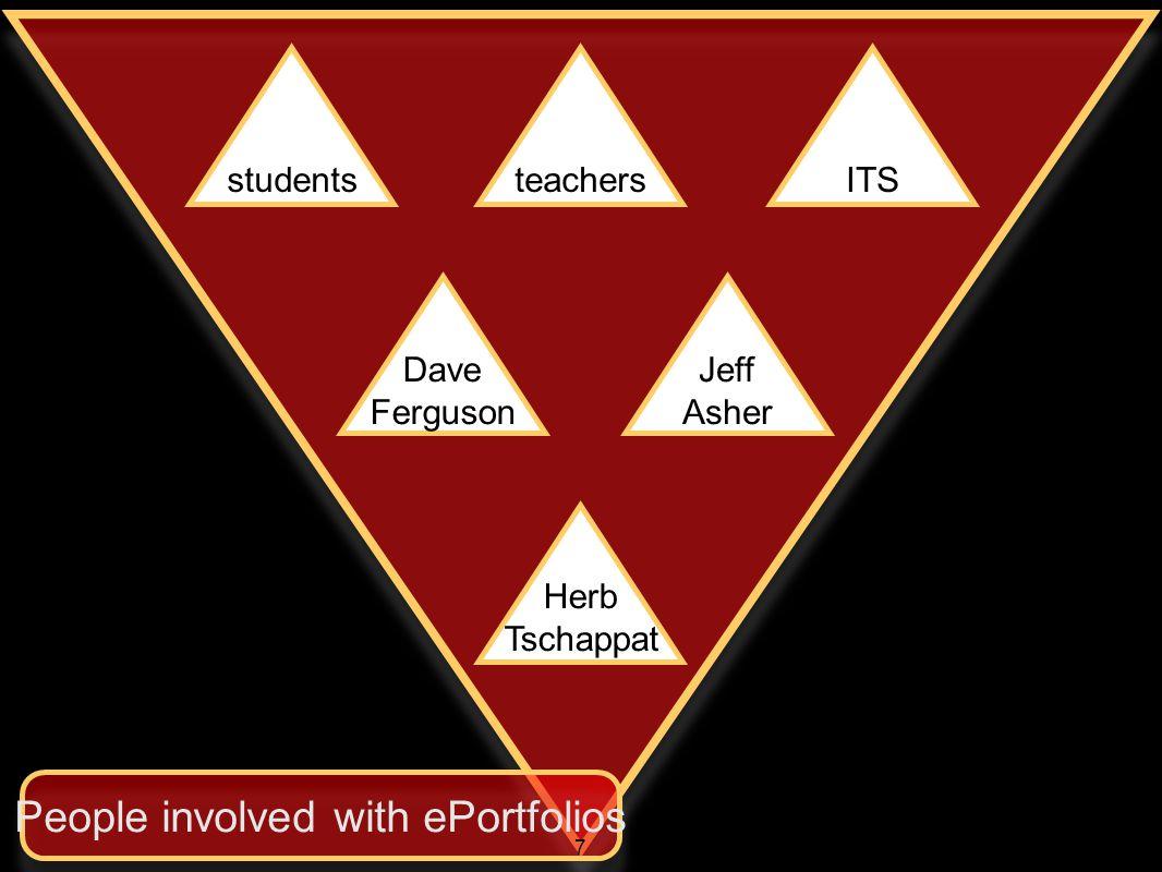 studentsteachersITS Dave Ferguson Jeff Asher Herb Tschappat People involved with ePortfolios 7