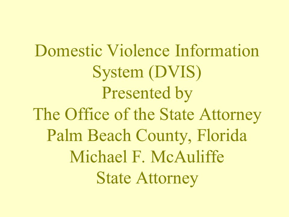 Domestic Violence Information System (DVIS) Presented by The Office of the State Attorney Palm Beach County, Florida Michael F.